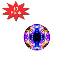 Animal Design Abstract Blue, Pink, Black 1  Mini Buttons (10 Pack)  by Costasonlineshop