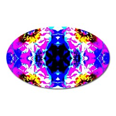Animal Design Abstract Blue, Pink, Black Oval Magnet by Costasonlineshop