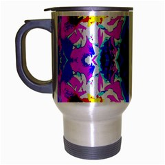 Animal Design Abstract Blue, Pink, Black Travel Mug (silver Gray) by Costasonlineshop