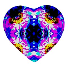 Animal Design Abstract Blue, Pink, Black Heart Ornament (2 Sides) by Costasonlineshop