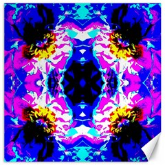 Animal Design Abstract Blue, Pink, Black Canvas 12  X 12   by Costasonlineshop