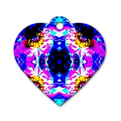 Animal Design Abstract Blue, Pink, Black Dog Tag Heart (two Sides) by Costasonlineshop