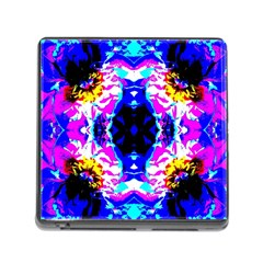 Animal Design Abstract Blue, Pink, Black Memory Card Reader (square)