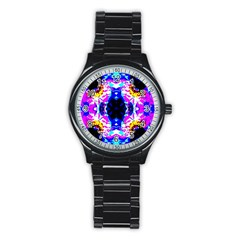 Animal Design Abstract Blue, Pink, Black Stainless Steel Round Watches