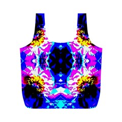 Animal Design Abstract Blue, Pink, Black Full Print Recycle Bags (m)