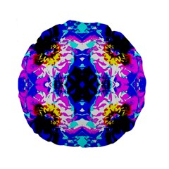 Animal Design Abstract Blue, Pink, Black Standard 15  Premium Flano Round Cushions by Costasonlineshop