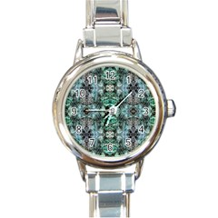 Green Black Gothic Pattern Round Italian Charm Watches by Costasonlineshop