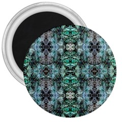 Green Black Gothic Pattern 3  Magnets