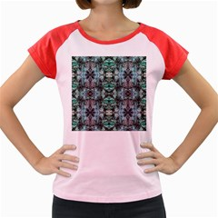 Green Black Gothic Pattern Women s Cap Sleeve T-Shirt by Costasonlineshop