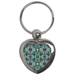 Green Black Gothic Pattern Key Chains (heart)  by Costasonlineshop