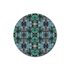 Green Black Gothic Pattern Rubber Round Coaster (4 Pack)  by Costasonlineshop