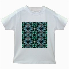 Green Black Gothic Pattern Kids White T Shirts by Costasonlineshop