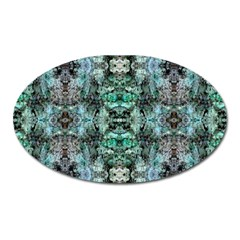 Green Black Gothic Pattern Oval Magnet by Costasonlineshop