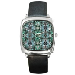 Green Black Gothic Pattern Square Metal Watches by Costasonlineshop