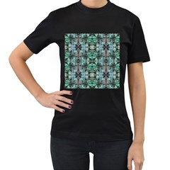 Green Black Gothic Pattern Women s T Shirt (black) (two Sided) by Costasonlineshop