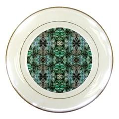 Green Black Gothic Pattern Porcelain Plates