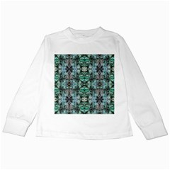 Green Black Gothic Pattern Kids Long Sleeve T Shirts by Costasonlineshop