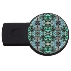 Green Black Gothic Pattern USB Flash Drive Round (4 GB)  by Costasonlineshop