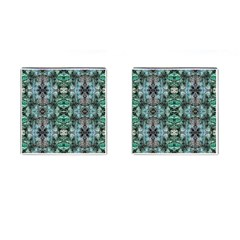 Green Black Gothic Pattern Cufflinks (Square) by Costasonlineshop