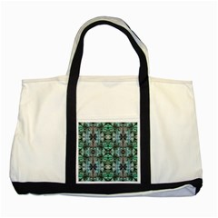 Green Black Gothic Pattern Two Tone Tote Bag