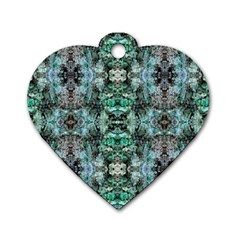 Green Black Gothic Pattern Dog Tag Heart (two Sides) by Costasonlineshop