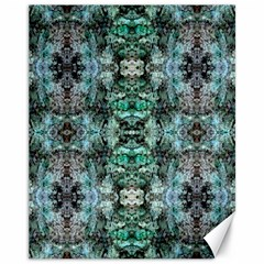 Green Black Gothic Pattern Canvas 11  X 14   by Costasonlineshop