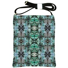 Green Black Gothic Pattern Shoulder Sling Bags by Costasonlineshop