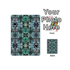 Green Black Gothic Pattern Playing Cards 54 (Mini)  by Costasonlineshop