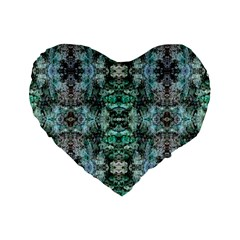 Green Black Gothic Pattern Standard 16  Premium Heart Shape Cushions by Costasonlineshop