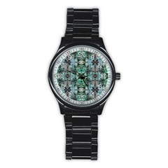 Green Black Gothic Pattern Stainless Steel Round Watches by Costasonlineshop