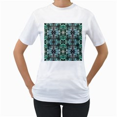 Green Black Gothic Pattern Women s T Shirt (white)  by Costasonlineshop