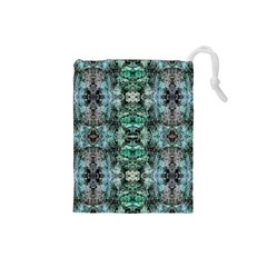 Green Black Gothic Pattern Drawstring Pouches (small)  by Costasonlineshop