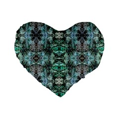 Green Black Gothic Pattern Standard 16  Premium Flano Heart Shape Cushions by Costasonlineshop