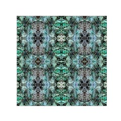 Green Black Gothic Pattern Small Satin Scarf (square)