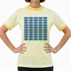 Pastel Blue Flower Pattern Women s Fitted Ringer T Shirts