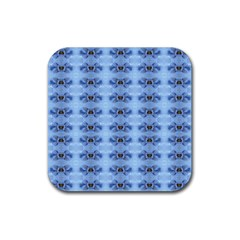 Pastel Blue Flower Pattern Rubber Coaster (square)  by Costasonlineshop