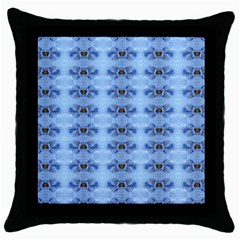 Pastel Blue Flower Pattern Throw Pillow Cases (black) by Costasonlineshop