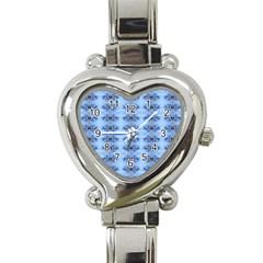 Pastel Blue Flower Pattern Heart Italian Charm Watch by Costasonlineshop