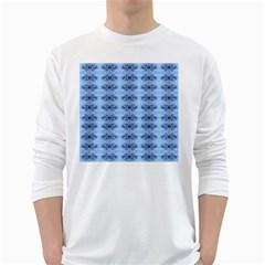 Pastel Blue Flower Pattern White Long Sleeve T Shirts