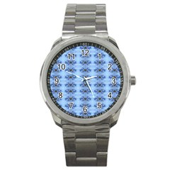 Pastel Blue Flower Pattern Sport Metal Watches by Costasonlineshop