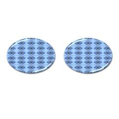 Pastel Blue Flower Pattern Cufflinks (oval)