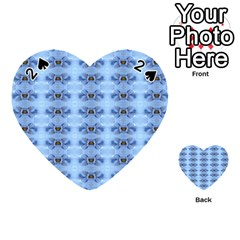 Pastel Blue Flower Pattern Playing Cards 54 (heart)