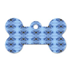 Pastel Blue Flower Pattern Dog Tag Bone (One Side) by Costasonlineshop