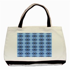Pastel Blue Flower Pattern Basic Tote Bag (two Sides)