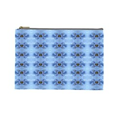 Pastel Blue Flower Pattern Cosmetic Bag (large)