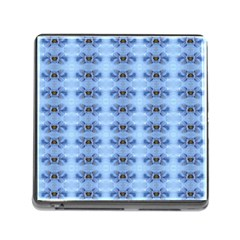 Pastel Blue Flower Pattern Memory Card Reader (square)