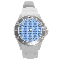Pastel Blue Flower Pattern Round Plastic Sport Watch (l)
