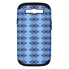 Pastel Blue Flower Pattern Samsung Galaxy S Iii Hardshell Case (pc+silicone) by Costasonlineshop