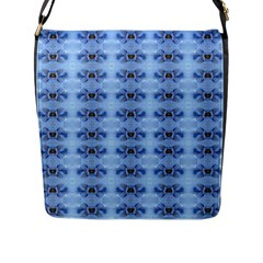 Pastel Blue Flower Pattern Flap Messenger Bag (l)