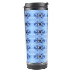 Pastel Blue Flower Pattern Travel Tumblers